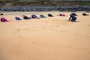 Outdoor Yoga on Fanore beach with Doolin Yoga